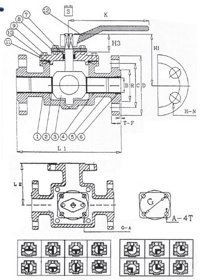 Cast Iron 3-Way T-Port Ball Valve - Flanged PN16  Way Ball Valve Schematic on